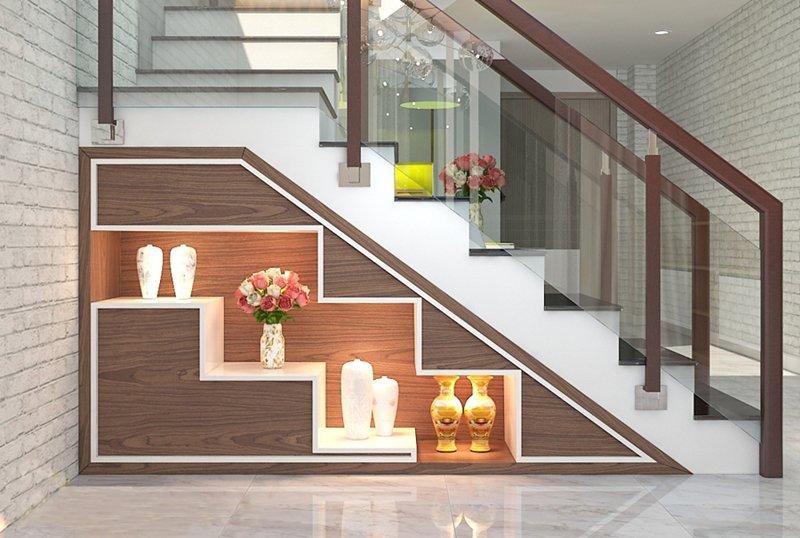 Kệ trang trí cầu thang với thiết kế thông minh, tiết kiệm không gian
