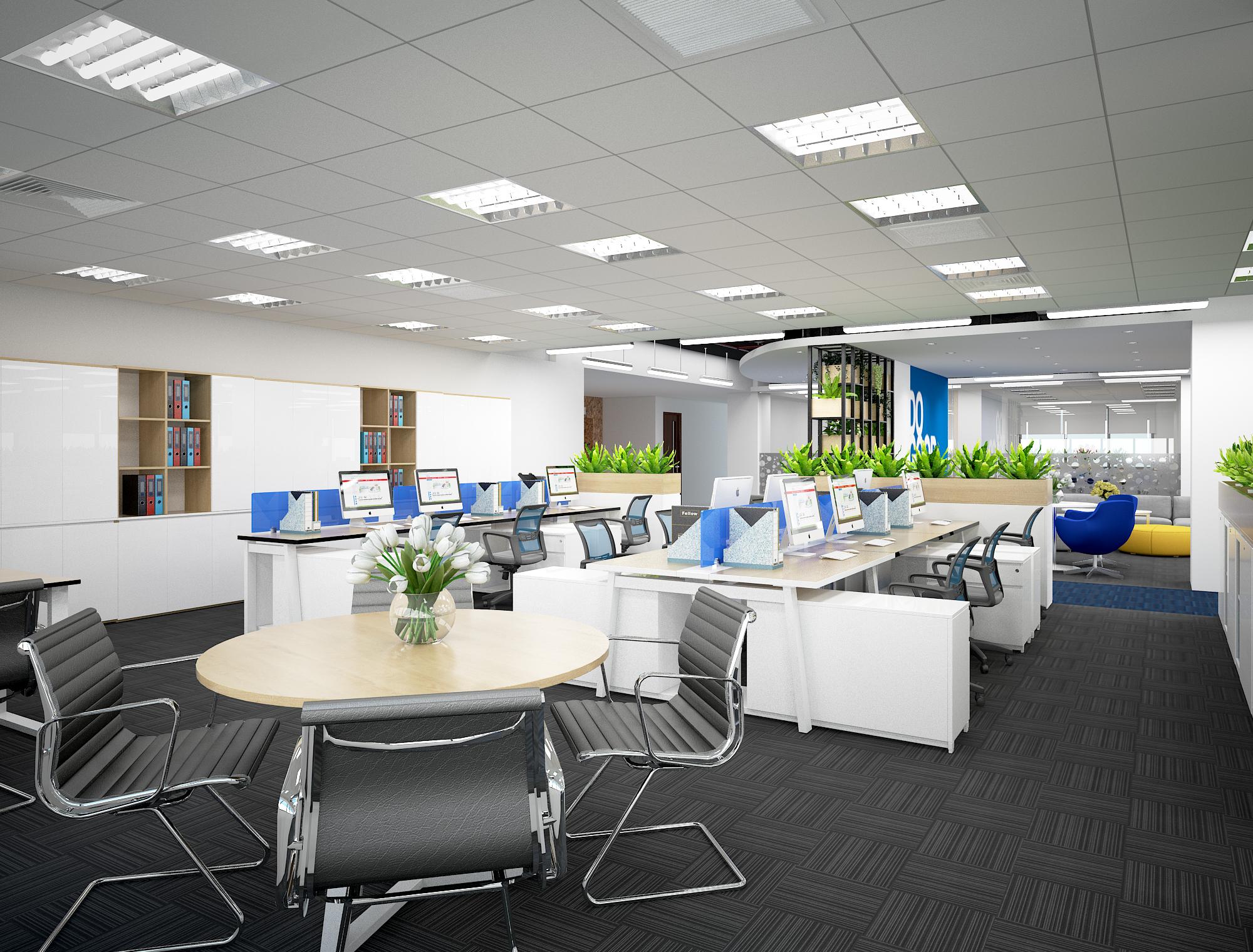 Mẫu thiết kế nội thất văn phòng với nhiều kiểu dáng bàn và ghế làm việc đa dạng